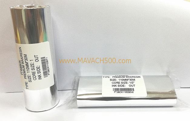 Mực in mã vạch Premium Wax Resin 110MMx30M
